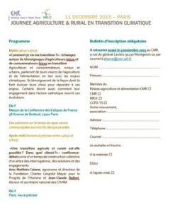 """Journée nationale CMR/MRJC """"Agriculture et rural en transition"""", le 11 décembre à Paris"""